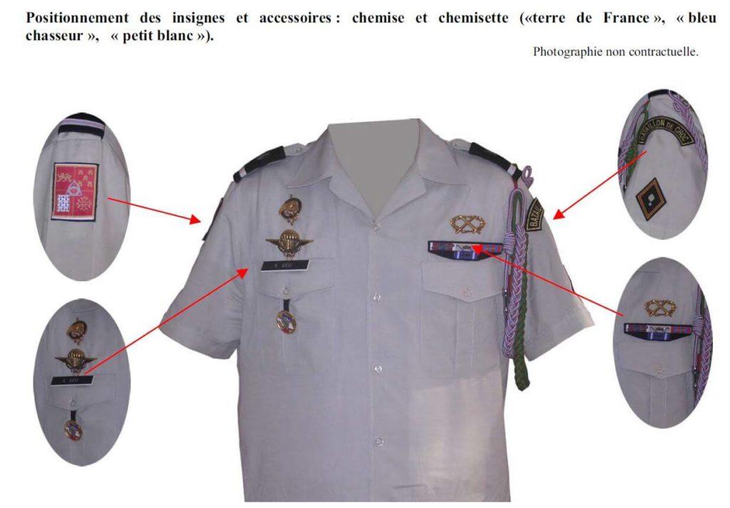 montage de décorations militaires sur chemisette