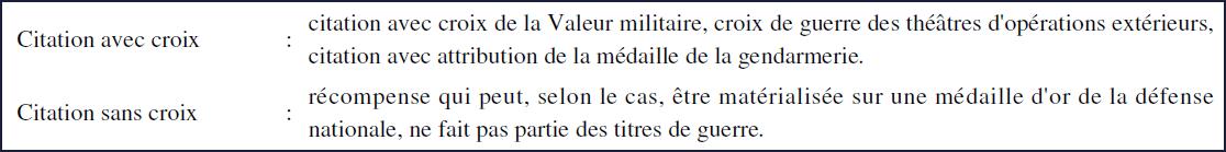 Annexe indiquant que la médaille de la gendarmerie nationale fait partie des médailles avec citation avec croix