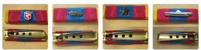 Exemple de différentes agrafes FAS et FOSt de défense nationale or avec citation sans croix