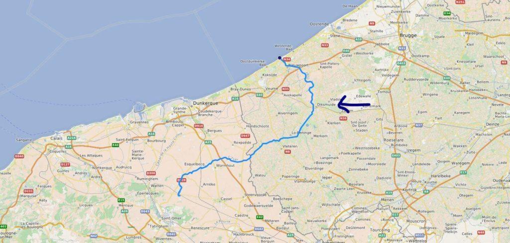 Carte du fleuve Yser et de la ville de Dixmude ou Diksmuide en hollandais