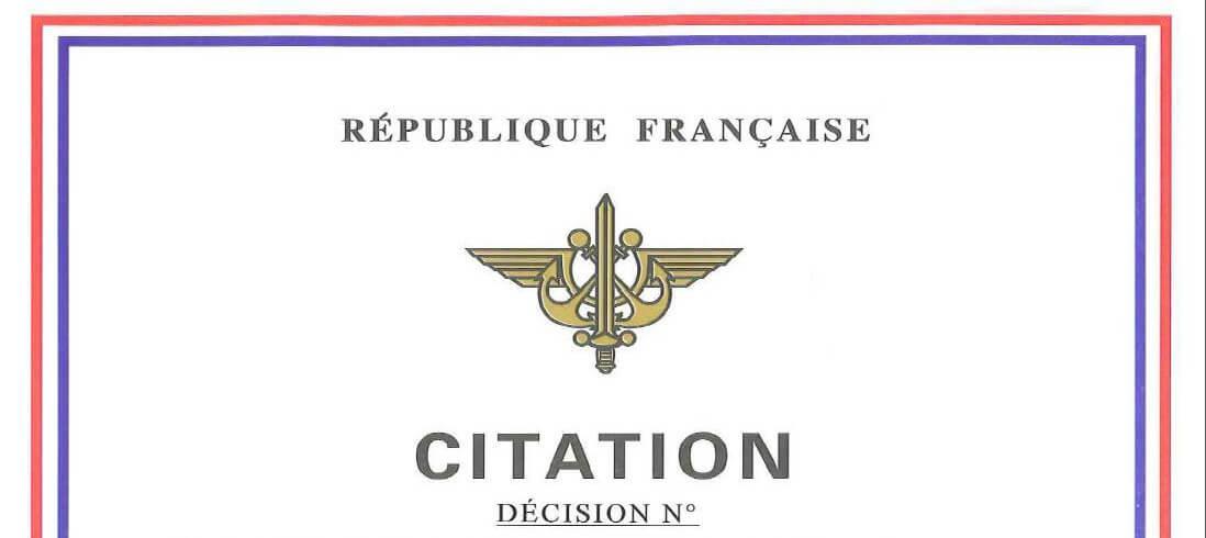 Medaille et citation militaire fonctionnement miniature