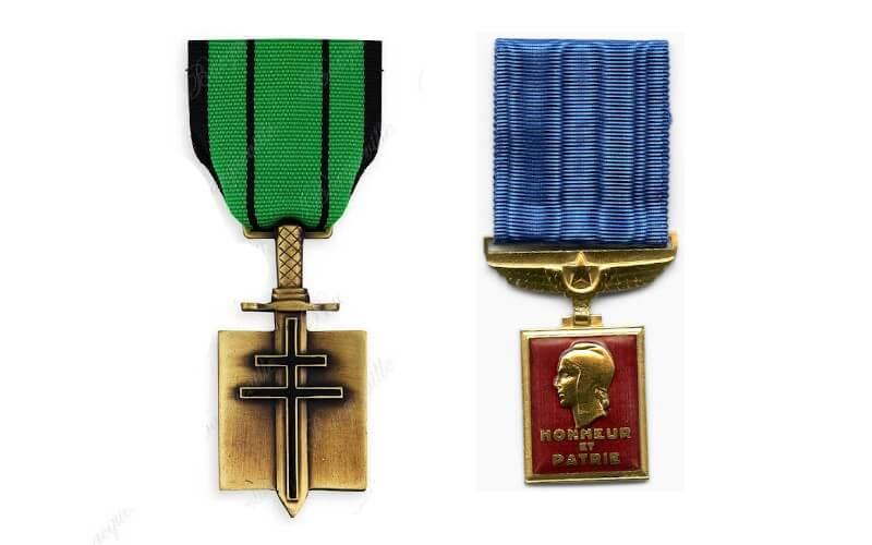 Exemple de la médaille aéronautique et de la médaille de la libération, avec croix de lorraine