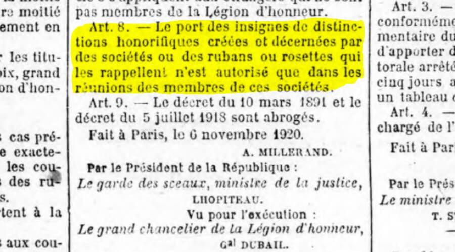 Article 8 Decret 1920 sur le port de décoration et médaille