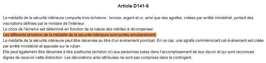Article D141-6 Médaille Code Sécurité Intérieure Echelon