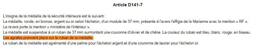 Article D141-7 Médaille Code Sécurité Intérieure Agrafes