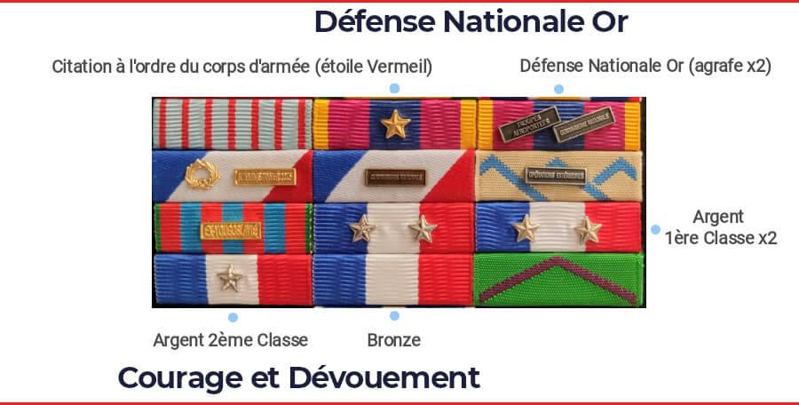 Exemple médaille cumulative defnat or courage dévouement