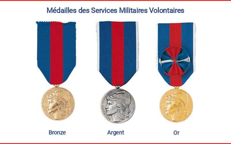 medaille des services militaires et ses 3 échelons-volontaires
