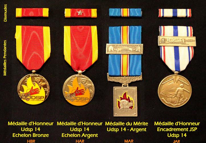 Médaille de l'union départementale des sapeurs-pompiers du calvados. Honneur, Mérite et JSP